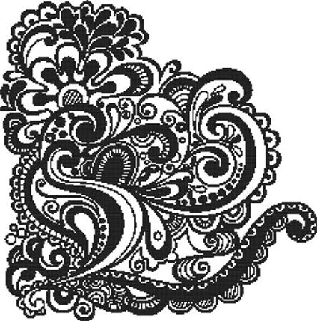 StitchX Cross Stitch Medallion Cross Stitch Pattern Monochrome Design