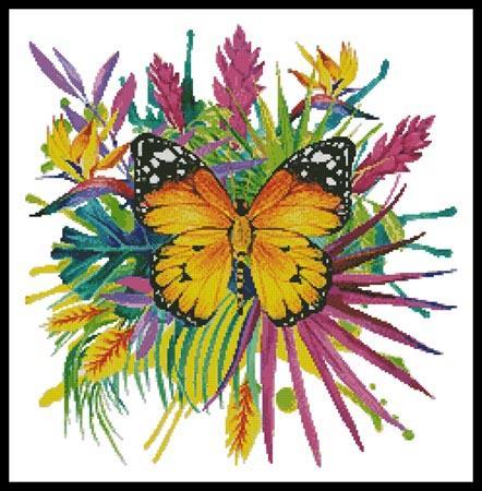 Purple Blue Green Butterfly by Artecy cross stitch pattern