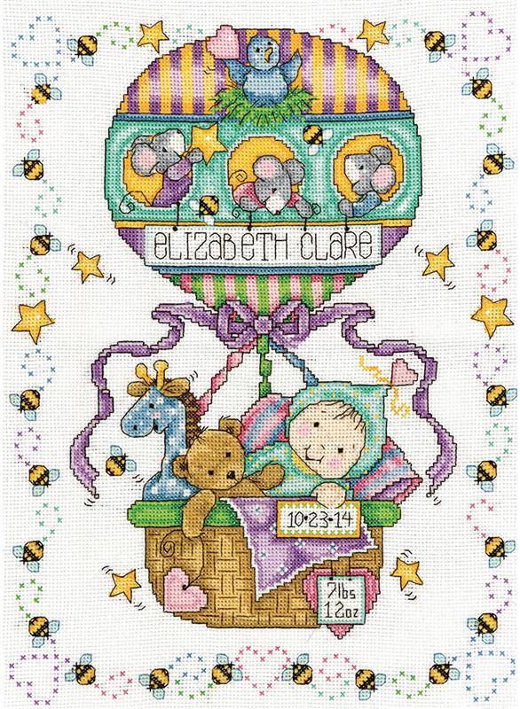 Tobin Sail Away Baby Counted Cross Stitch Kit 11-Inch x 14-Inch