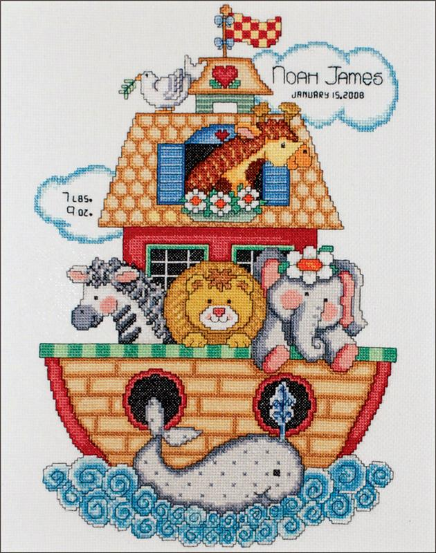 """Tobin Sail Away Baby Birth Record Counted Cross Stitch Kit-11/""""X14/"""" 14 Count"""