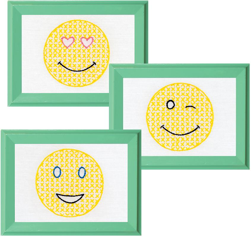 Everything Cross Stitch - Smiling Faces Stamped Embroidery