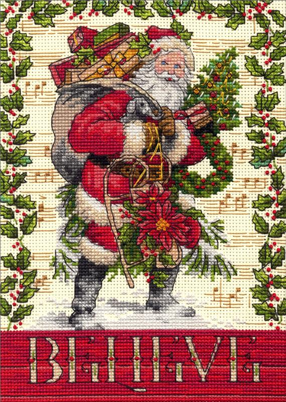 Santa And Snowman Dimensions Counted X Stitch Stocking Cross Kit stocking