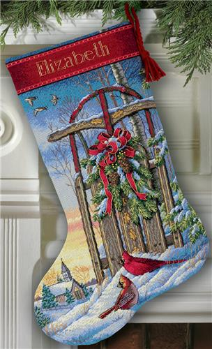 """Dimensions Gold Collection Santa/'s Journey Stocking Counted Cross Stitc-16/"""" Long"""