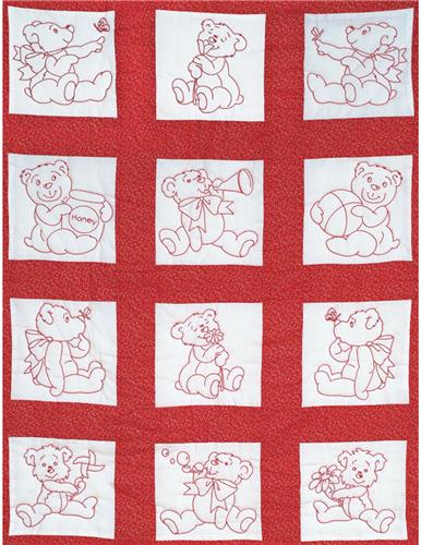 Baby Bears Nursery Quilt Blocks Stamped Cross Stitch