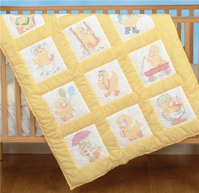 Baby Ducks Nursery Quilt Blocks Stamped Cross Stitch