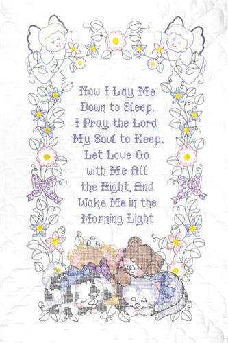 Now I Lay Me Down To Sleep Crib Quilt Top Stamped Cross Stitch