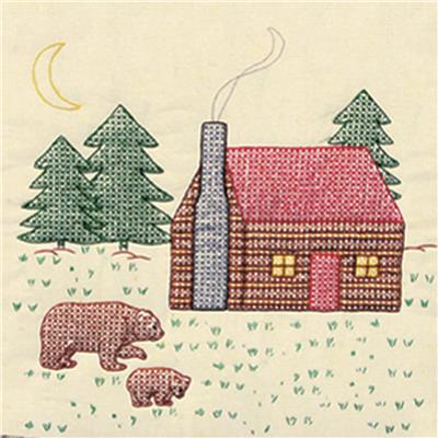 Cabin/Bear Quilt Blocks (stamped cross stitch)