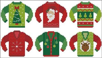 Ugly Christmas Sweaters Patterns.Ugly Christmas Sweater Minis 1