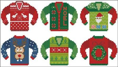 Ugly Christmas Sweaters Patterns.Ugly Christmas Sweater Minis 3