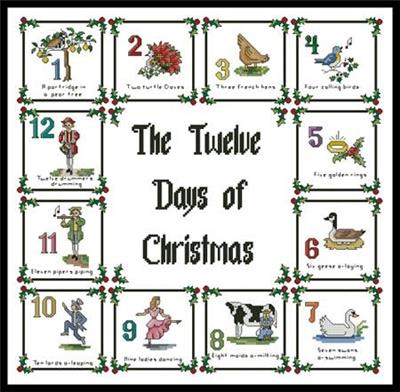 12 Days Of Christmas Cross Stitch.12 Days Of Christmas Sampler