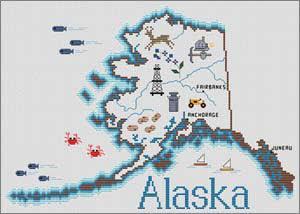 Alaska Map By Sue Hillis Designs