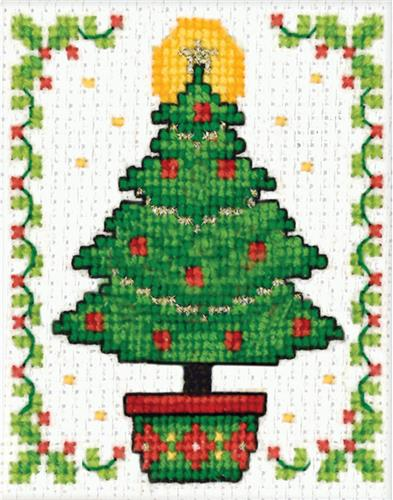 create a holiday cross stitch image and mount it within the miniature frame this package contains one 3x2 inch plastic frame embroidery floss aida cloth - Cross Christmas Tree