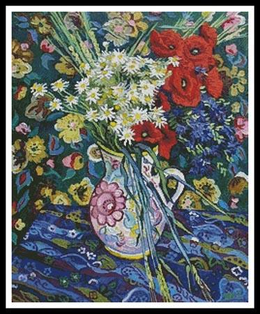 Everything cross stitch poppy flowers this counted cross stitch pattern of poppy flowers vase was created from a painting by vincent van gogh only full cross stitches are used in this pattern mightylinksfo