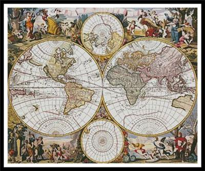 b9e2d03b2be This counted cross stitch pattern of an Old World Map was created from an  antique print. Only full cross stitches are used in this pattern.