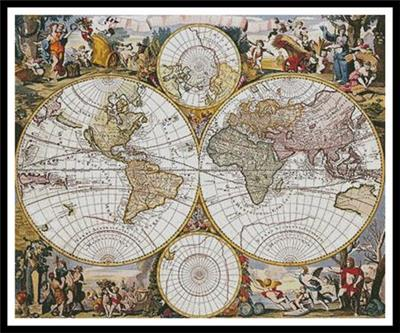 Everything cross stitch old world map large of an old world map was created from an antique print only full cross stitches are used in this pattern it is a black and white symbol pattern gumiabroncs Images