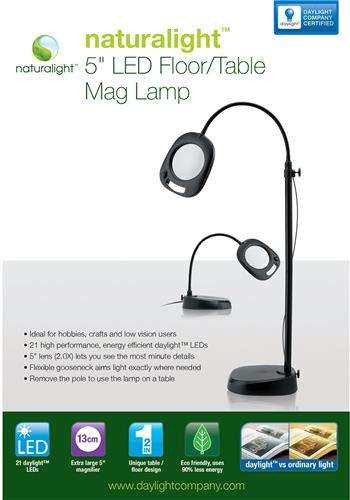 Everything cross stitch naturalight led 5quot floor for Naturalight led floor lamp with magnifier