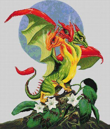Everything Cross Stitch - Peppers Dragon, by Stanley Morrison