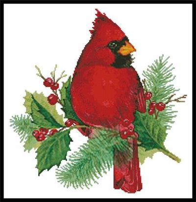 Everything Cross Stitch Cardinal And Holly