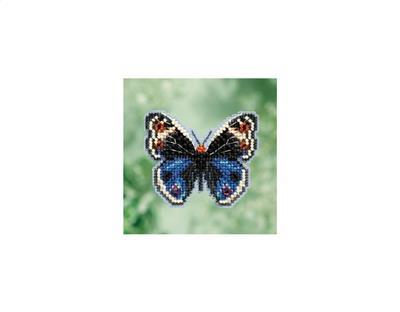 Blue Pansy Butterfly Mill Hill Bead Cross Stitch Kit