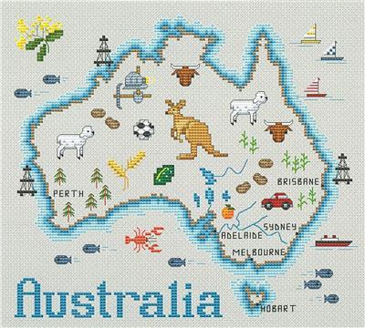 Everything Cross Stitch Map Of Australia