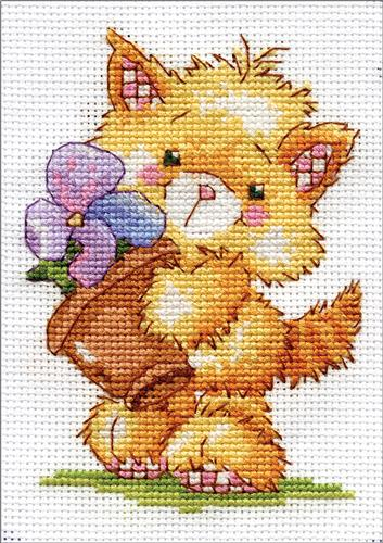 """Design Works Counted Cross Stitch Kit Meowy Lisa 8/"""" X 10/"""" NEW 14 CT"""