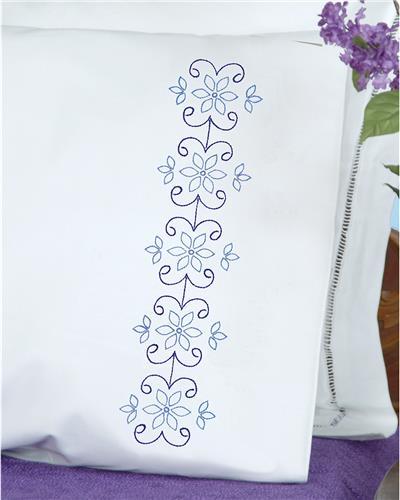 Simple Mandala Stamped Pillowcases W/White Perle Edge 2